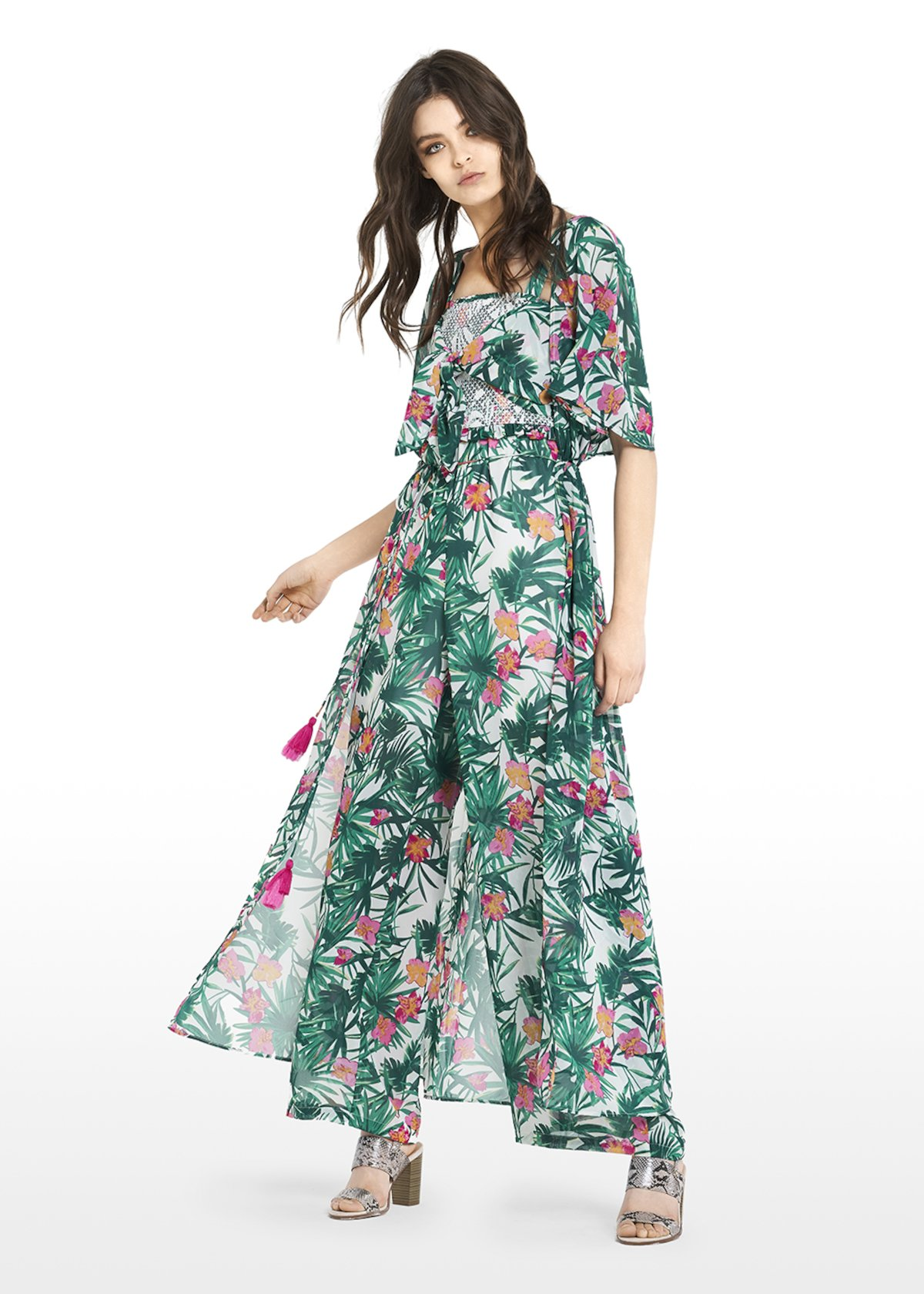 Carl shirt dress with tropical leaves and flowers print - White\ Amazon\ Fantasia - Woman - Category image