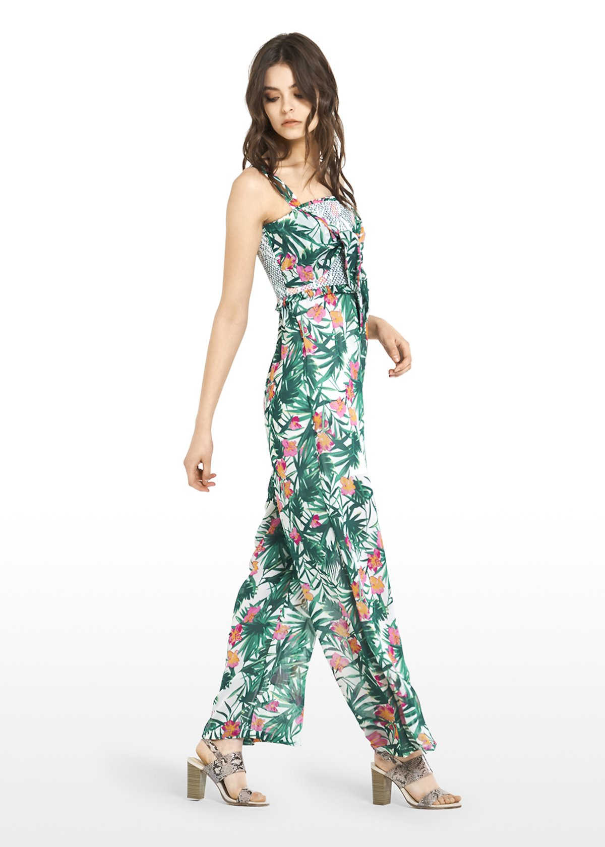 Tiger georgette jumpsuit with bow detail - White\ Amazon\ Fantasia - Woman