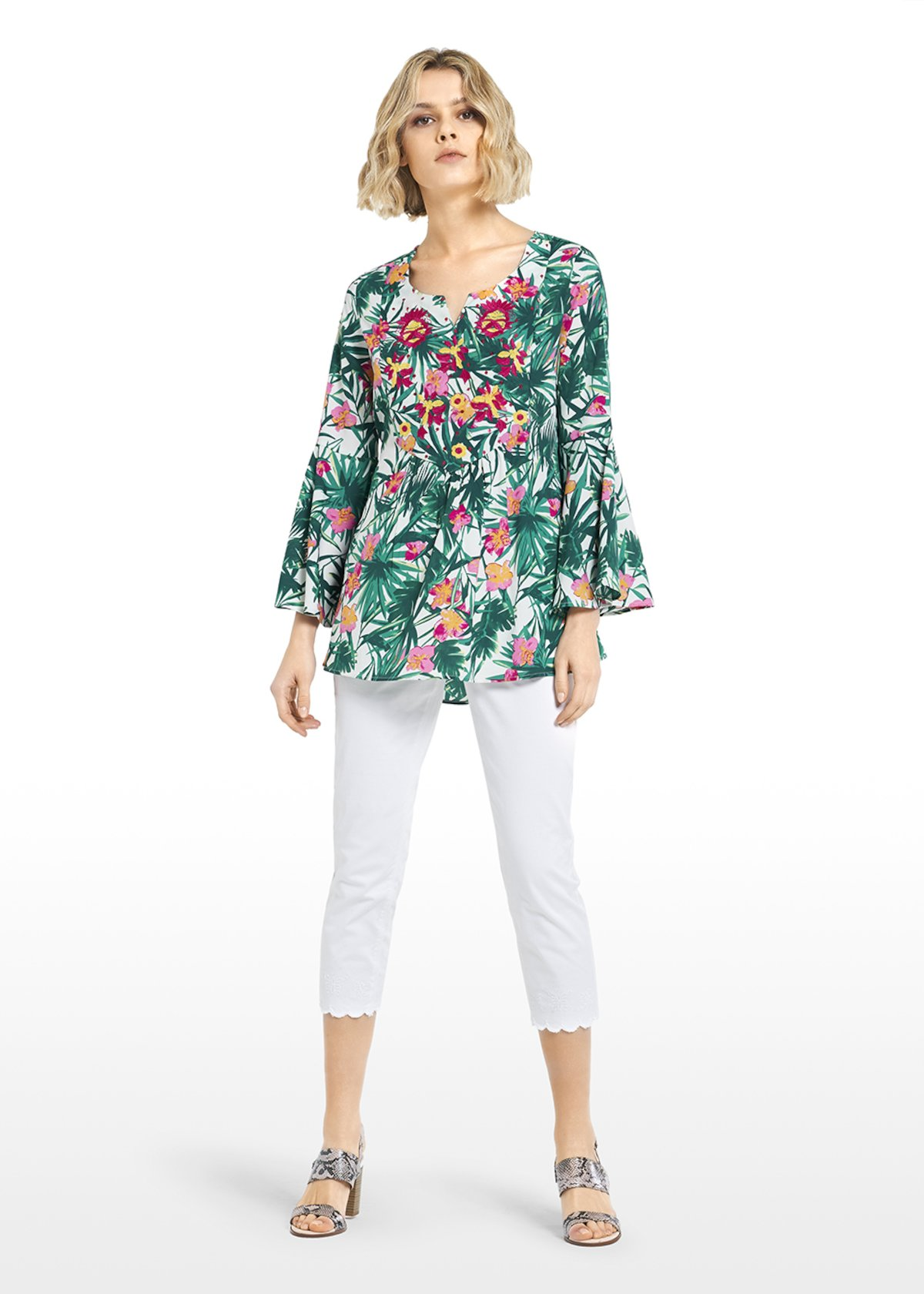 Consuelo blouse tropical leaves and flowers print