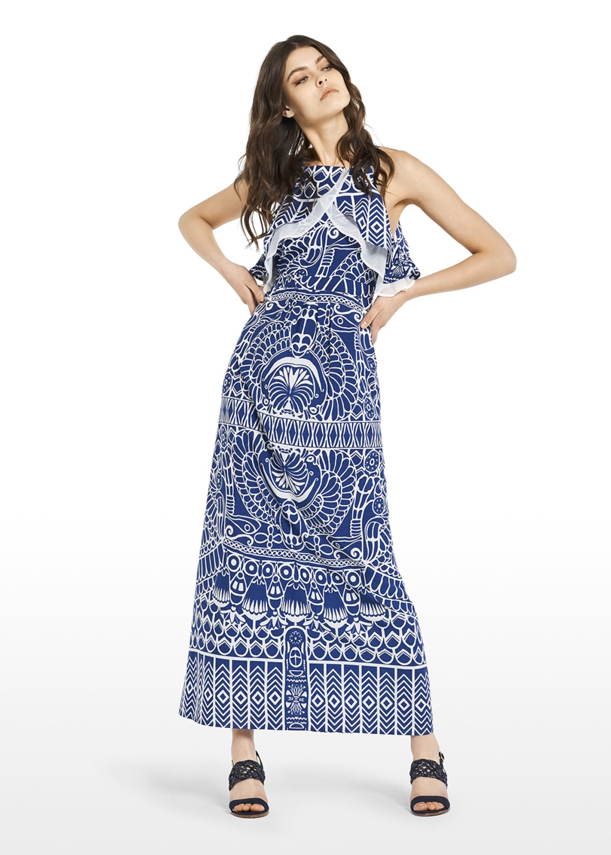 Alexander long dress with double ruffle on top - Lapis\ White\ Fantasia - Woman