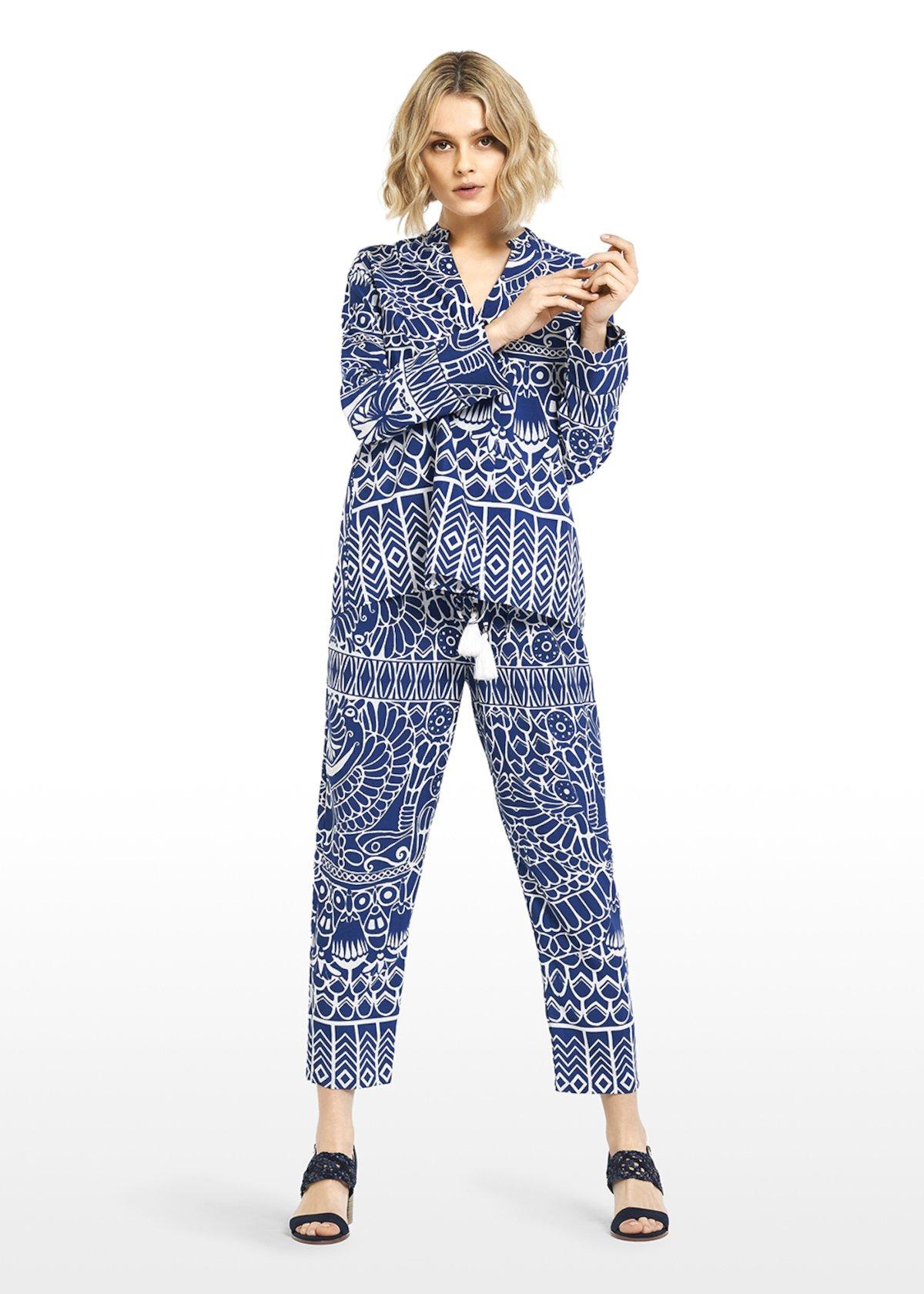 All over printed Platon trousers with drawstring - Lapis\ White\ Fantasia - Woman
