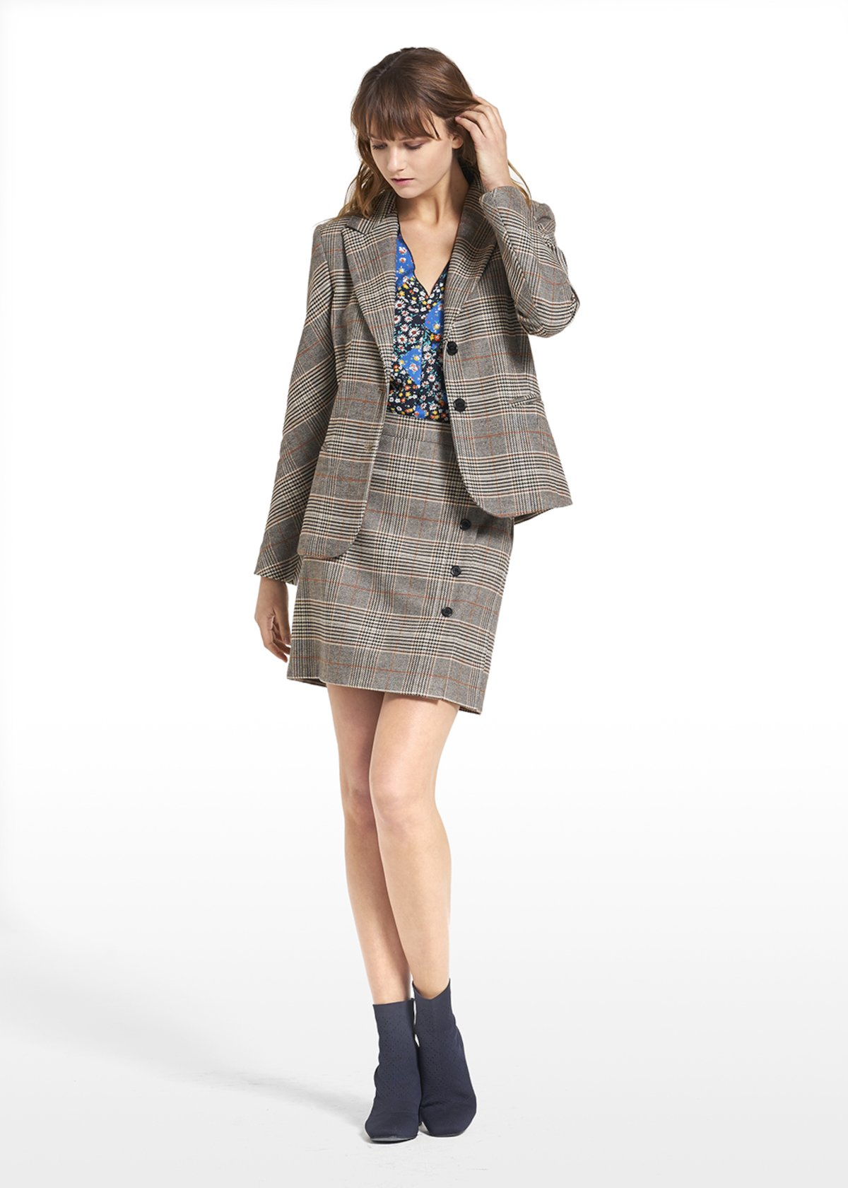 Patterned prince of Wales jacket Giulia - Beige / Black Fantasia - Woman - Category image