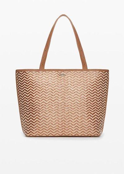Shopping bag Brigitte in ecopelle e paglia design zig-zag