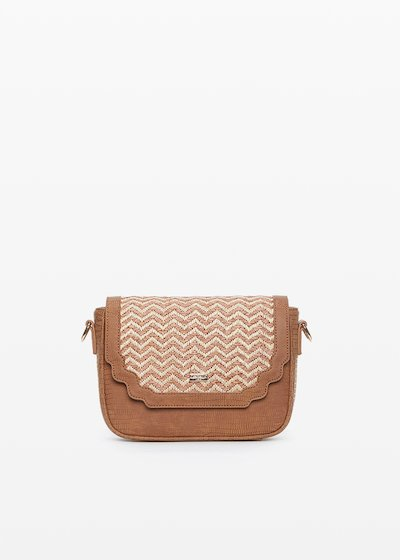 Faux leather and straw Brooke small handbag zigzag design
