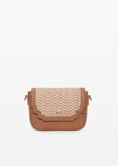 Small handbag Brooke in ecopelle e paglia design zig-zag