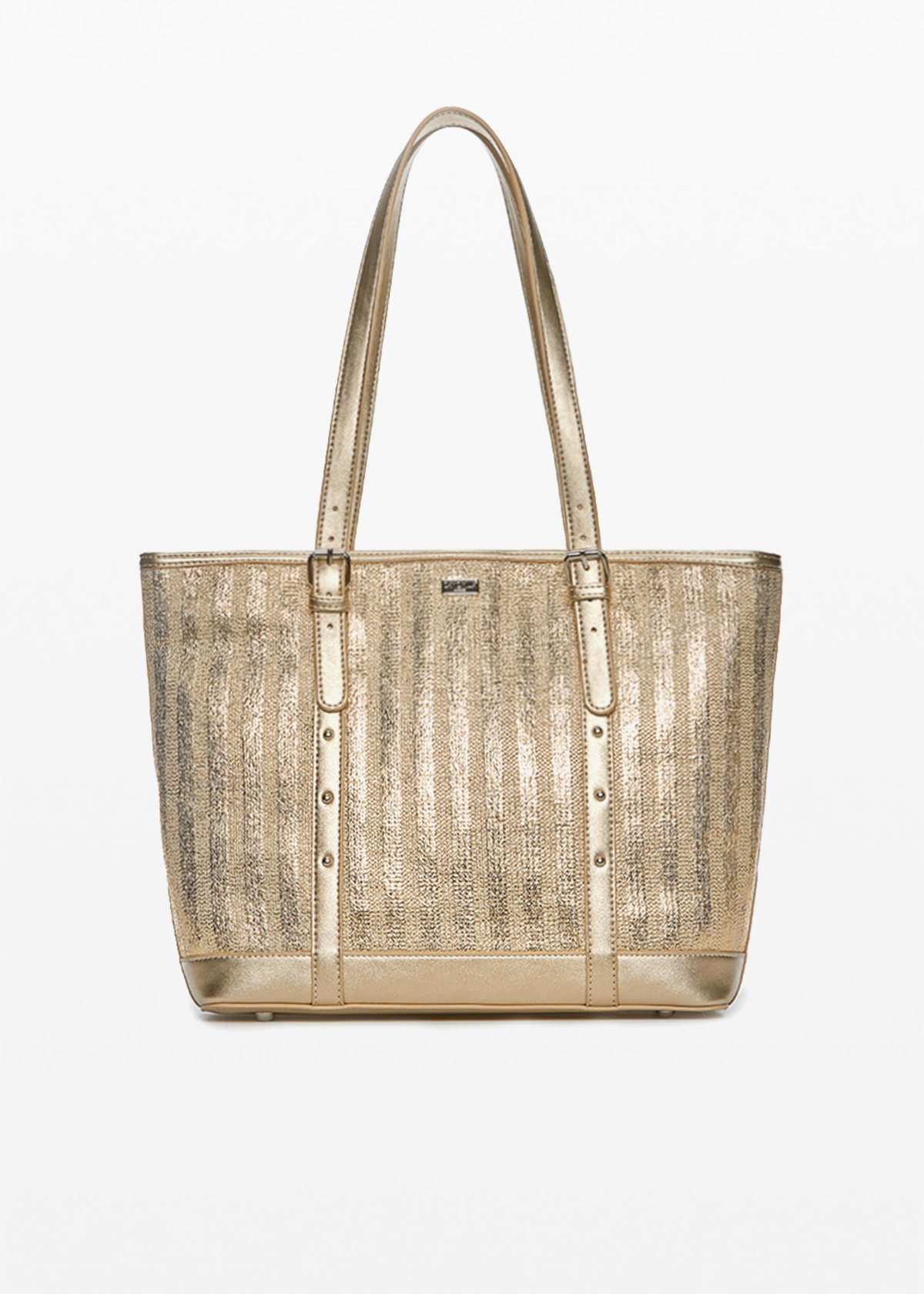 Faux-leather and straw Bicky shopping bag in silver plated straw - Gold - Woman