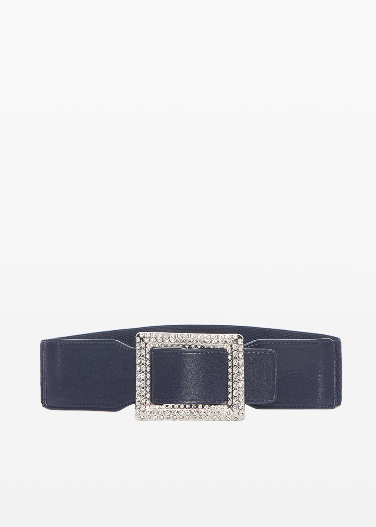 Clary faux leather belt with crystal buckle - Medium Blue - Woman