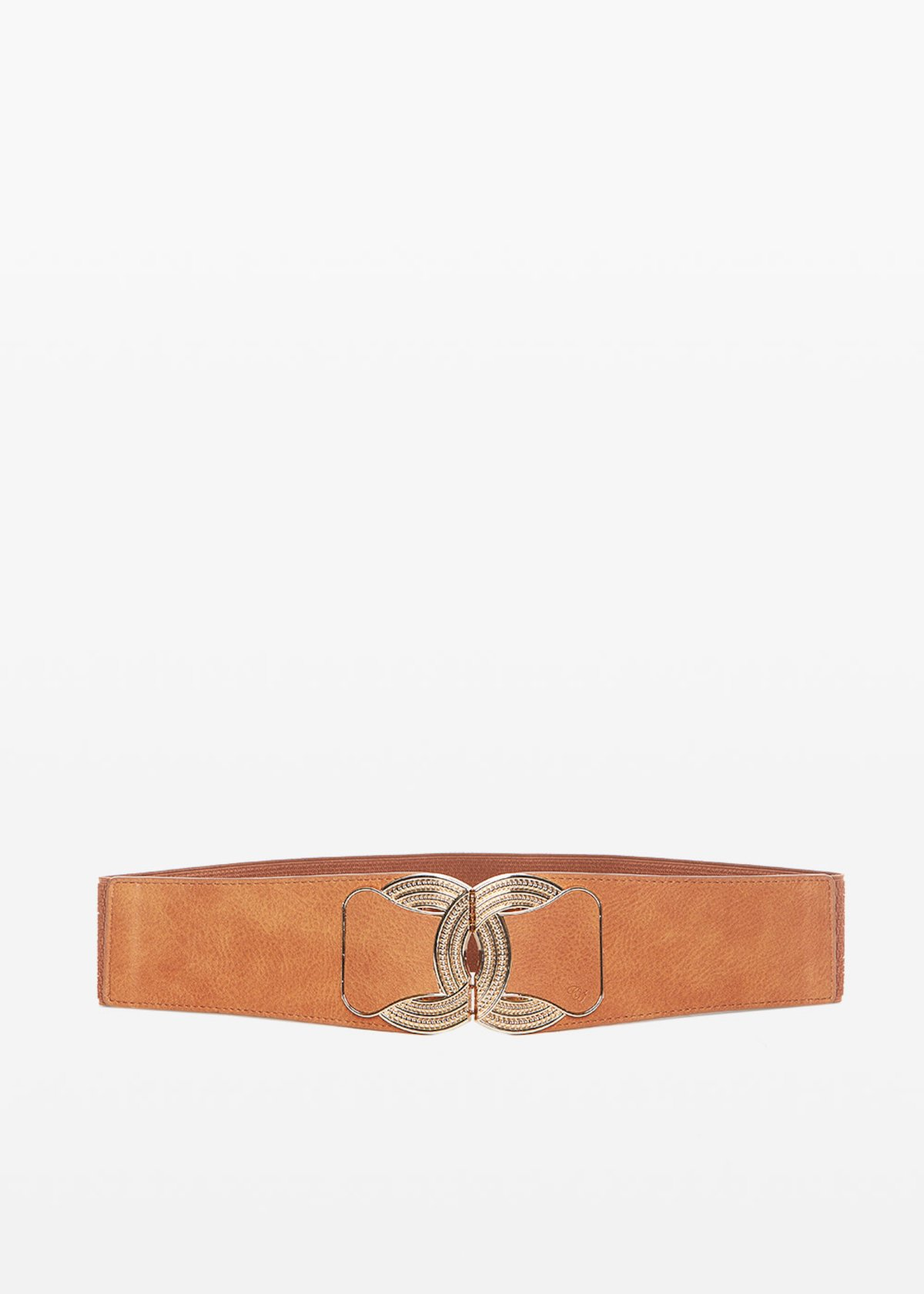Colty faux leather belt with metal buckle - Tobacco - Woman
