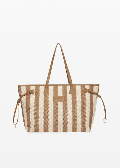 Shopping bag Nelly in raffia stripes fantasy