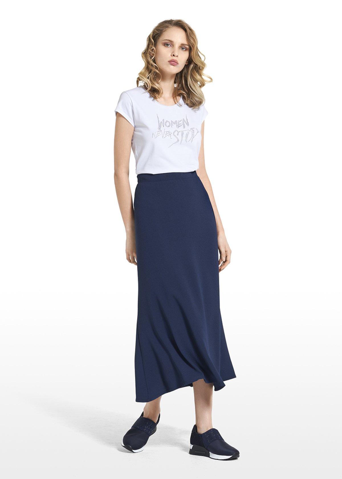 Long skirt Grazia in crêpe wave - Dark Blue - Woman
