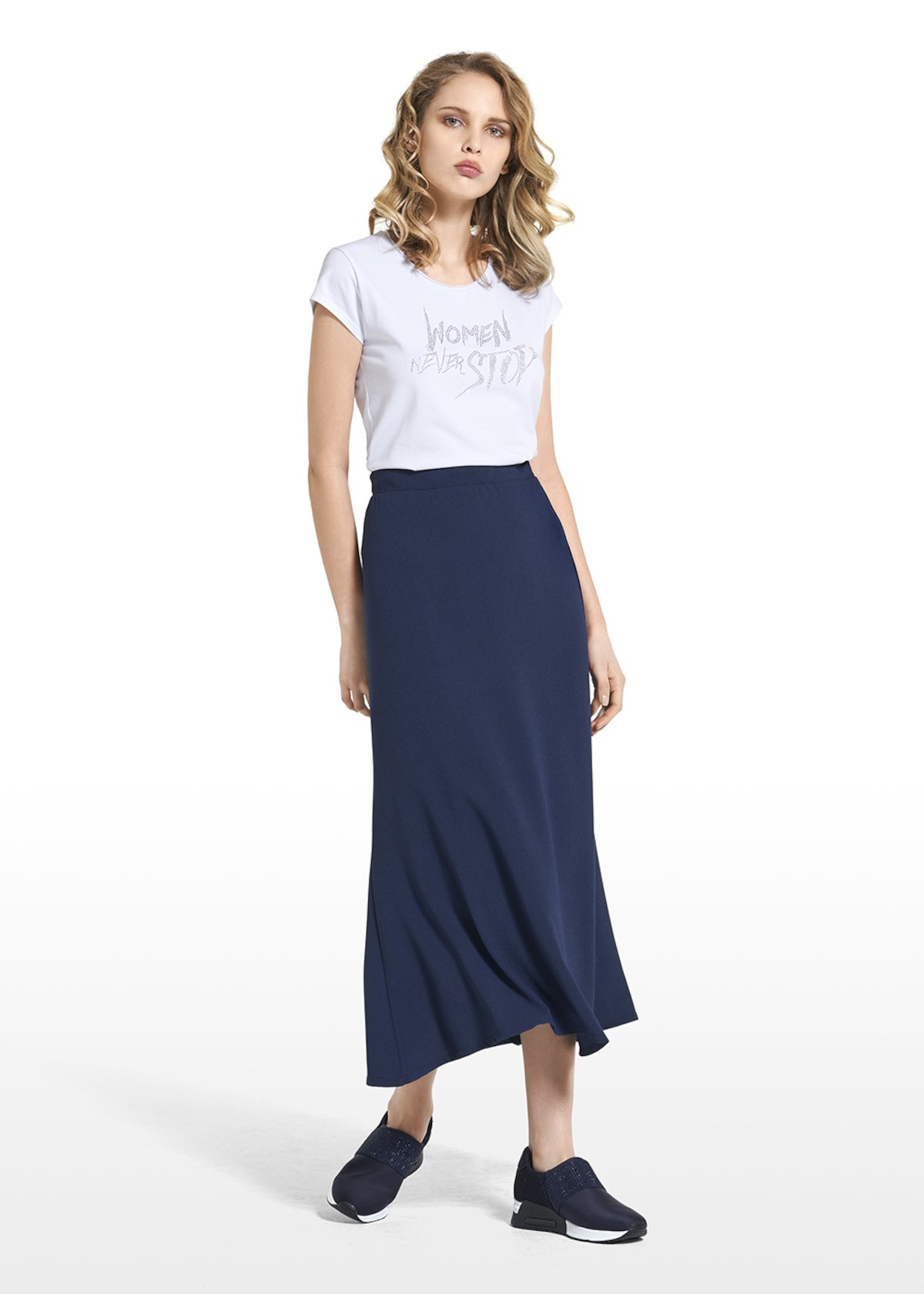 Long skirt Grazia in crêpe wave - Dark Blue
