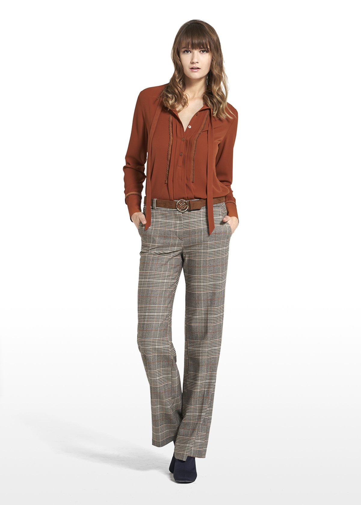Blouse Camilla in click fabric with scarf neckline - Tobacco - Woman