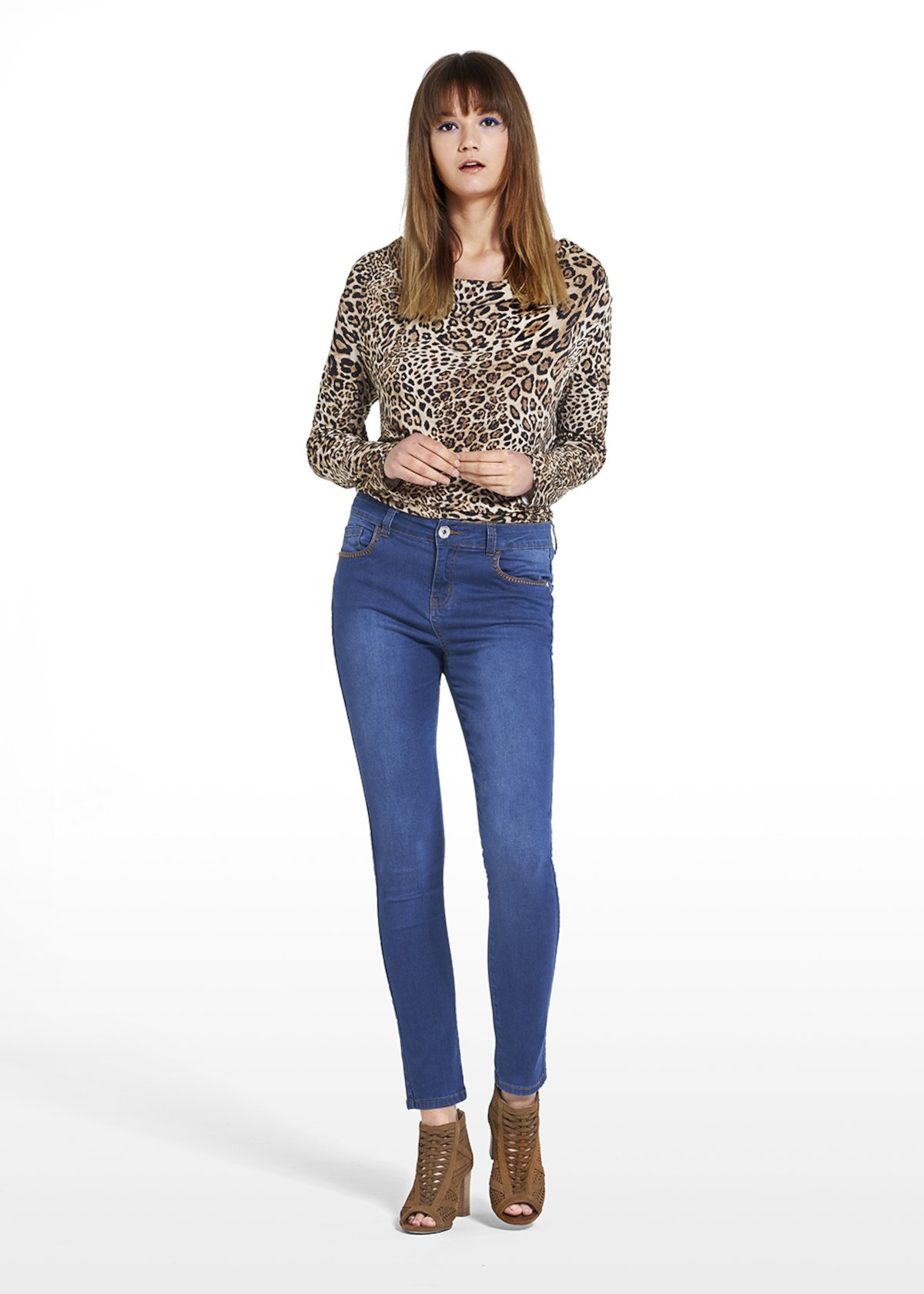 Patterned spotted t-shirt Susanna with hooded neckline - Beige / Black Animalier - Woman