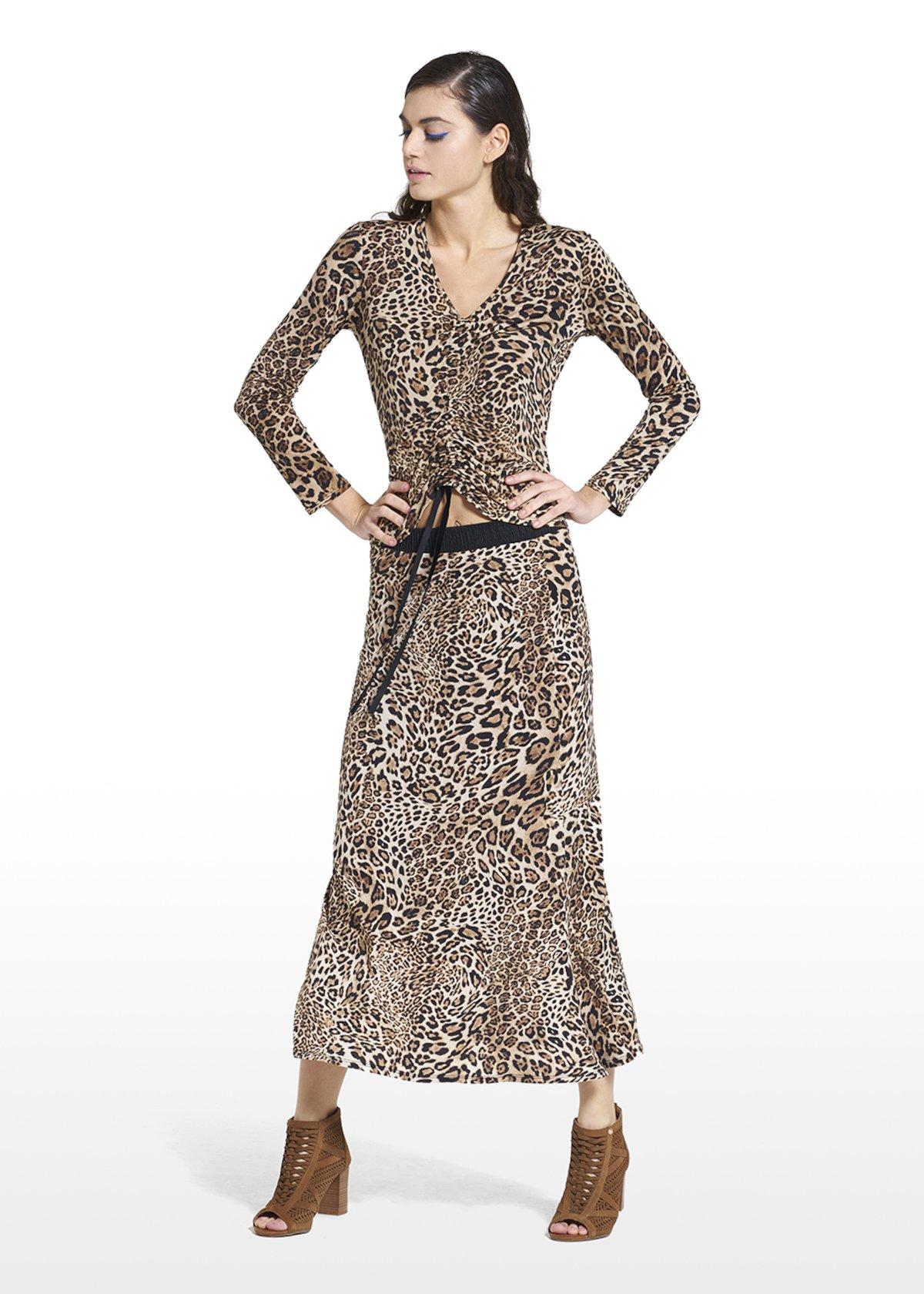 Patterned animalier skirt Gennifer - Beige / Black Animalier - Woman