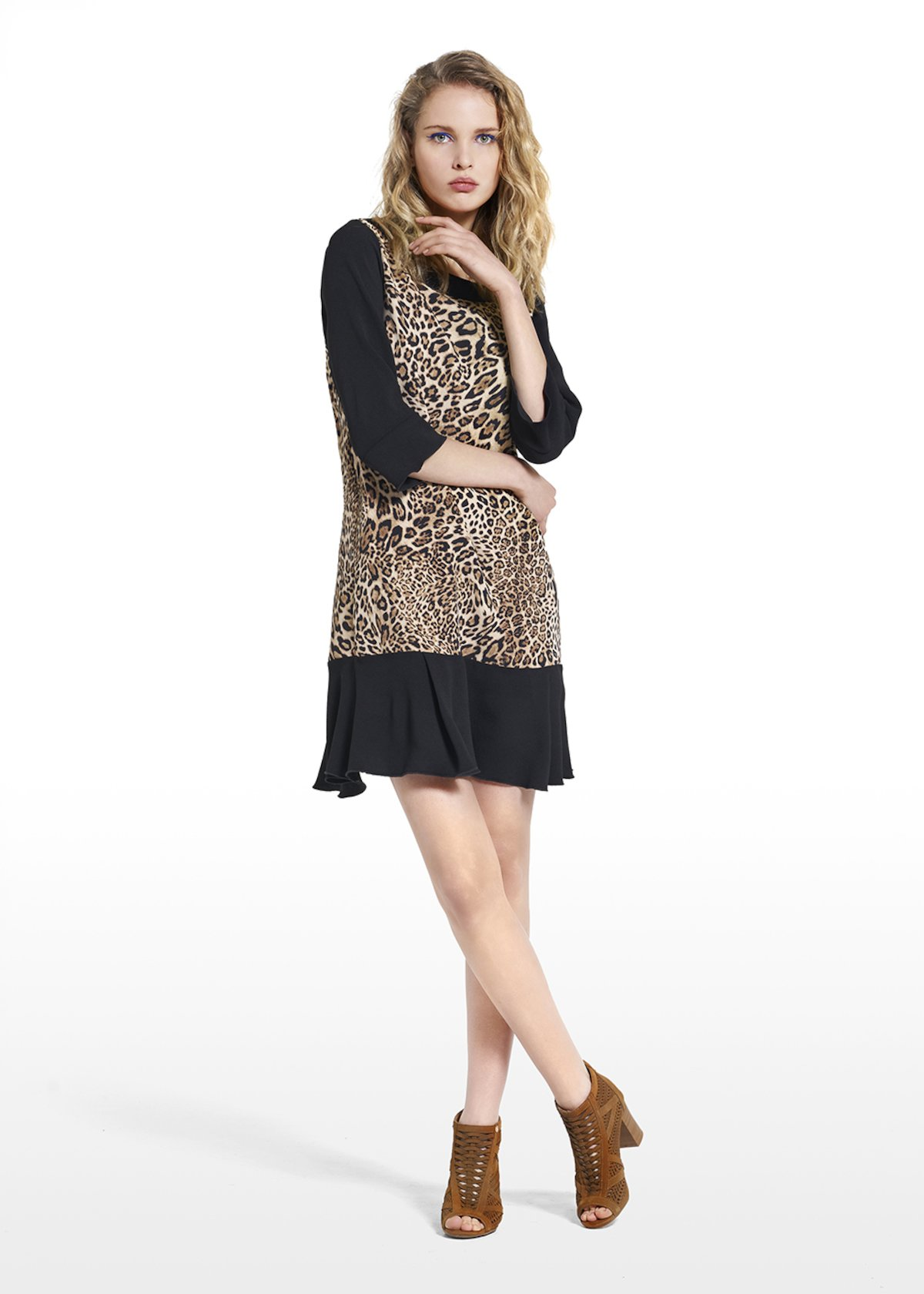 Patterned animalier dress Amour in pepper fabric - Beige / Black Animalier - Woman