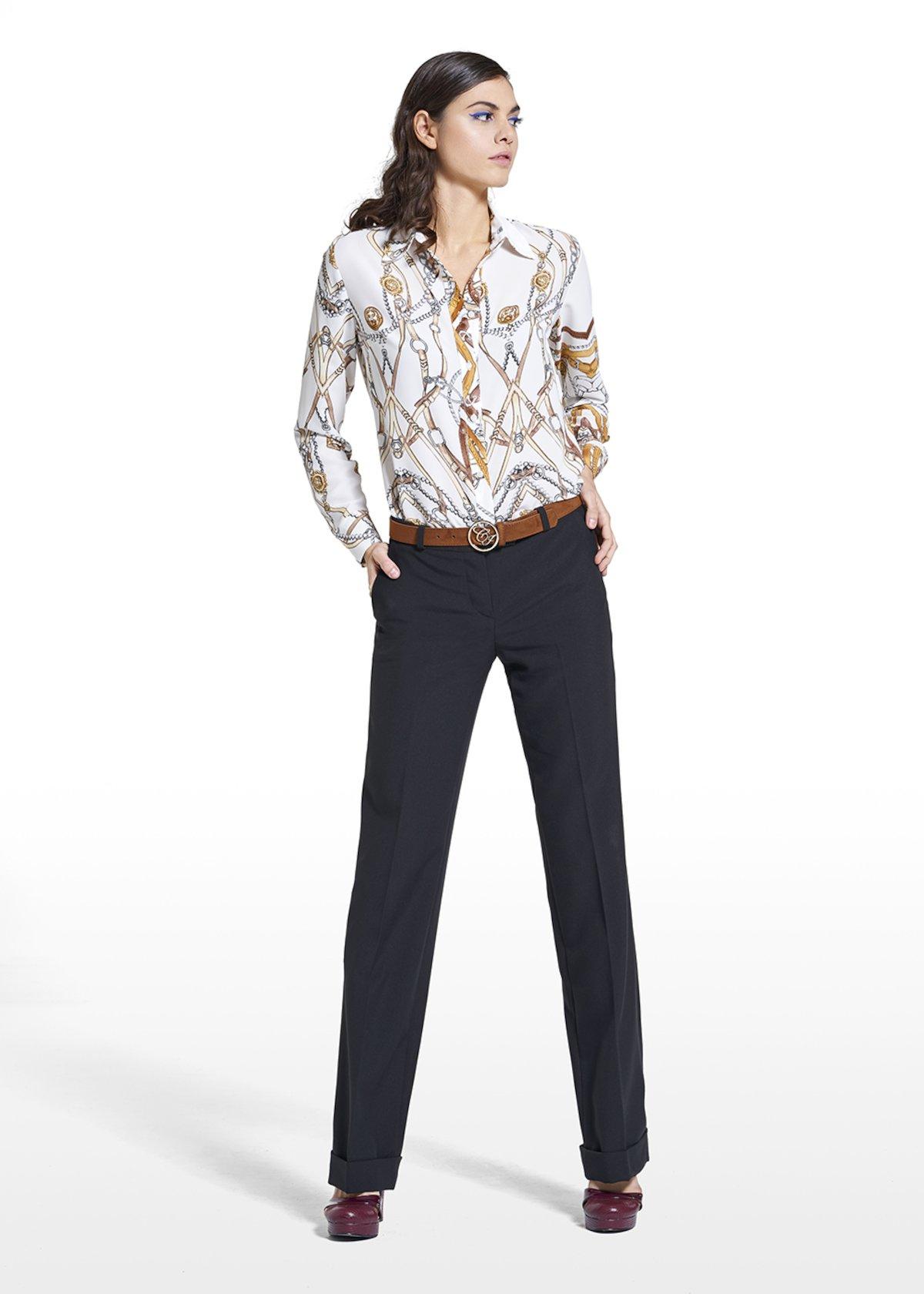 Giorgia model in poly-viscose fabric pants Priamo - Black - Woman