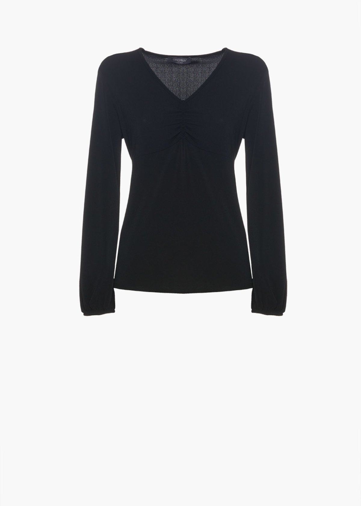 Long-sleeved t-shirt Sibillia with V-neckline and gathering