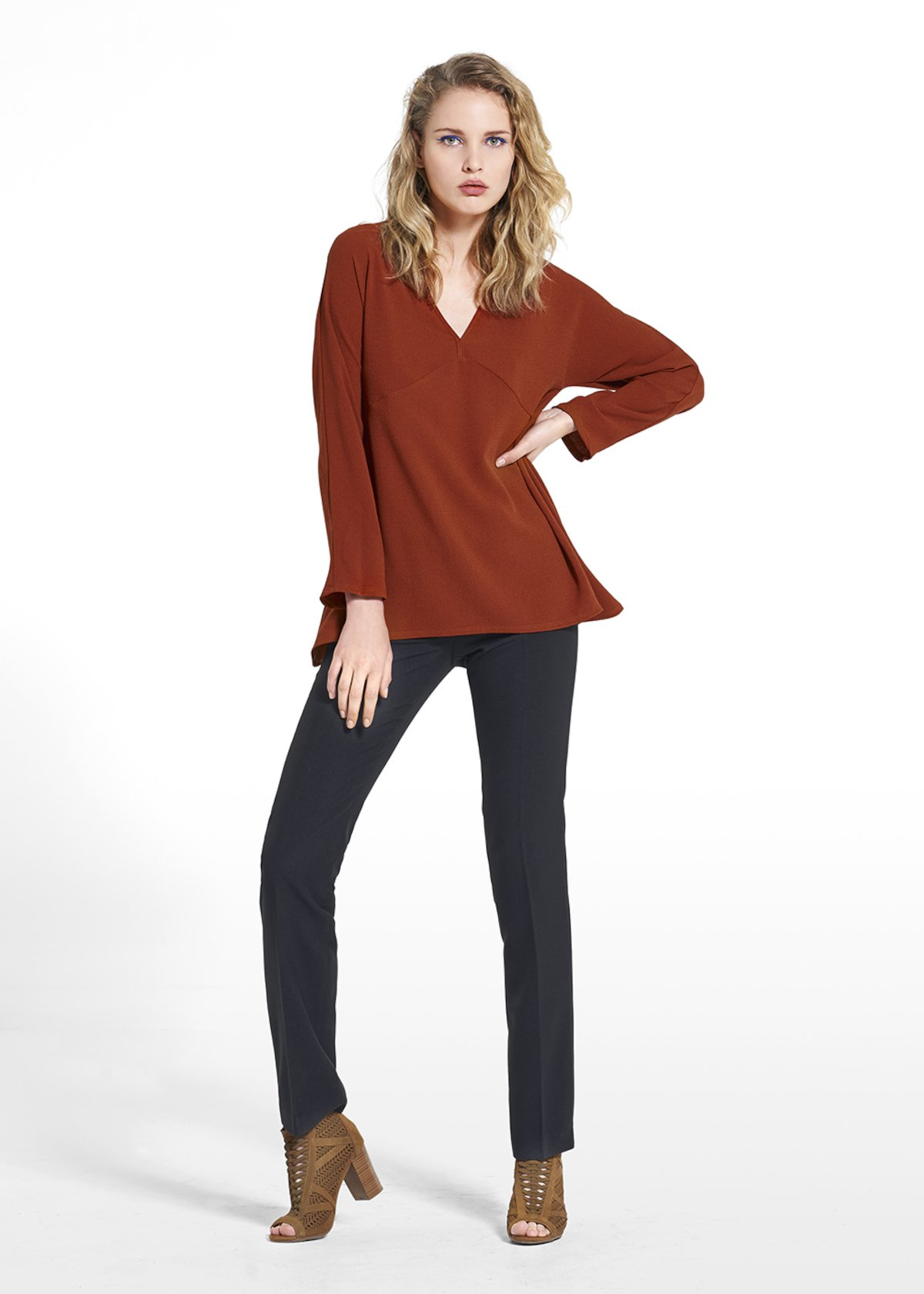 Blouse Carmen in wave fabric with V-neckline - Copper_Blue - Woman