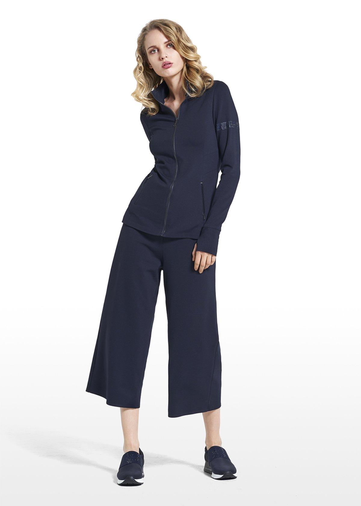 Sweatshirt Fiona in Punto Milano fabric - Dark Blue - Woman