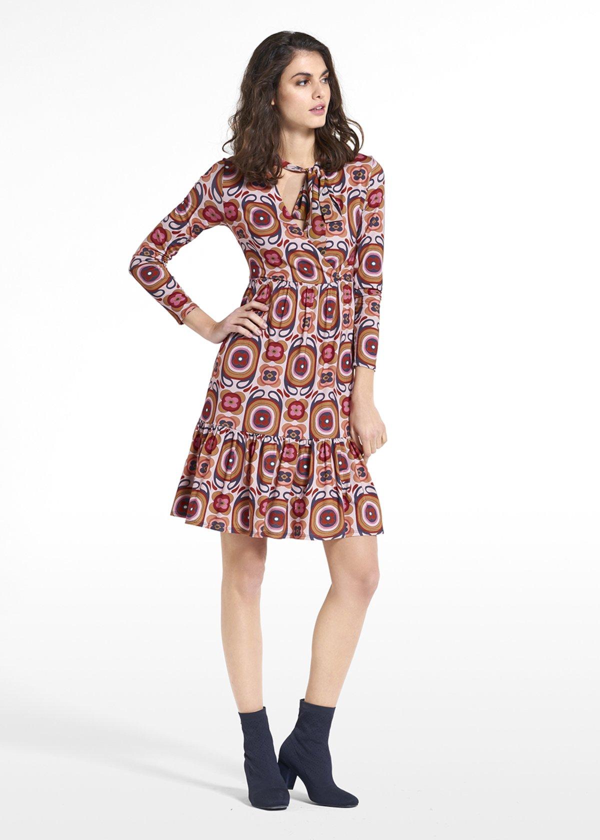 Dress Arien in jersey patterned hippie - Beige / Carota Fantasia - Woman
