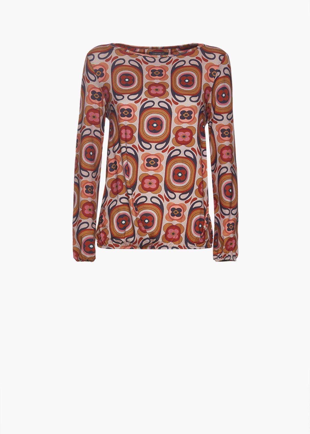 Egg model patterned hippie blouse Soleil - Beige / Carota Fantasia - Woman