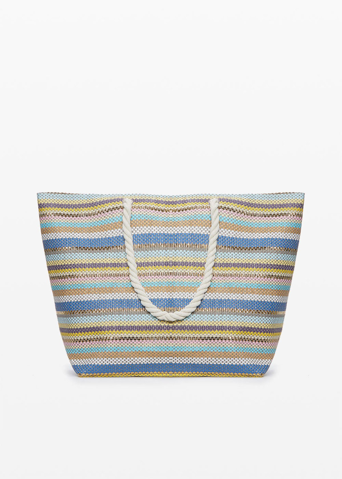Brendy micro-stripes fantasy shopping bag with double handles - Mineral Stripes - Woman