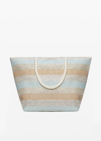 Shopping bag Buzzy macro-stripes fantasy con chiusura a zip