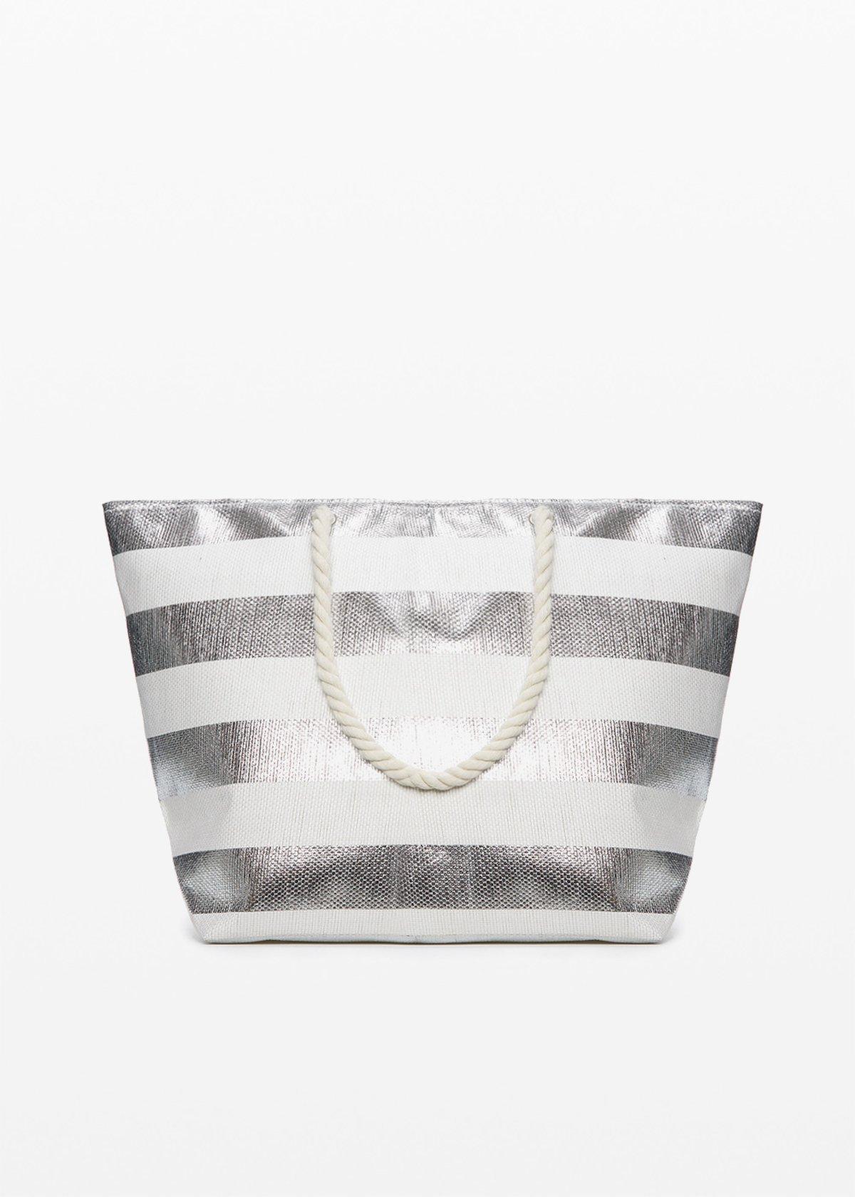 Shopping bag Belen silver shiny macro fantasy stripes - Silver Stripes - Woman
