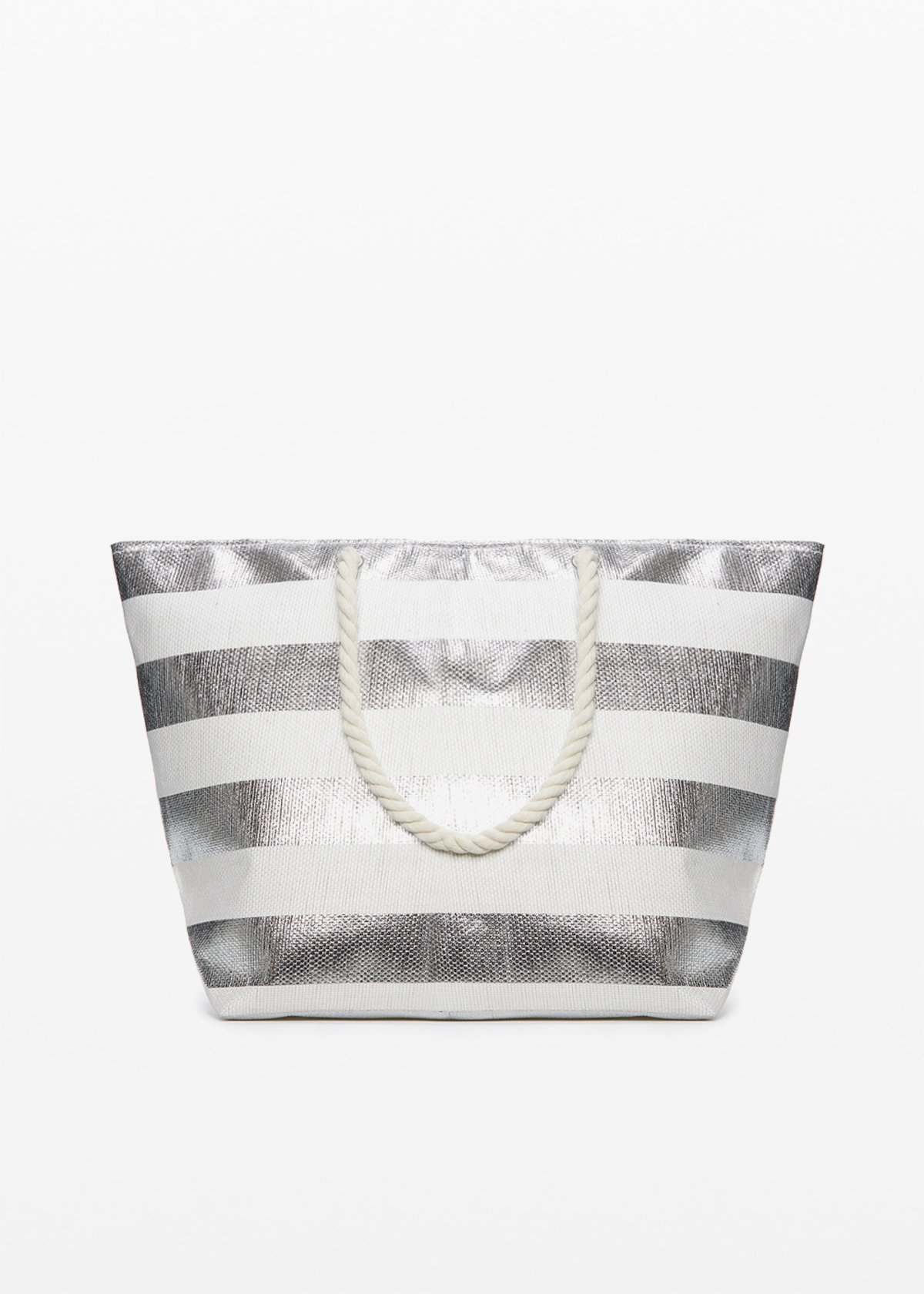 Shopping bag Belen silver shiny macro fantasy stripes
