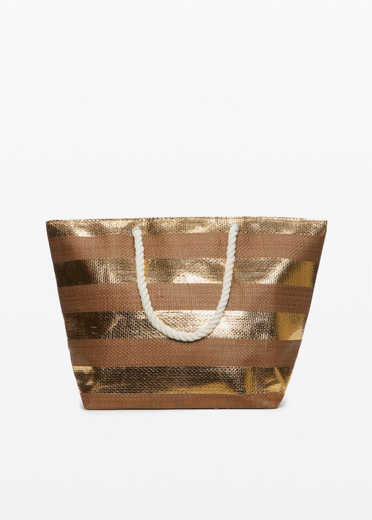 Bowland gold shiny macro stripes fantasy shopping bag - Gold Stripes - Woman
