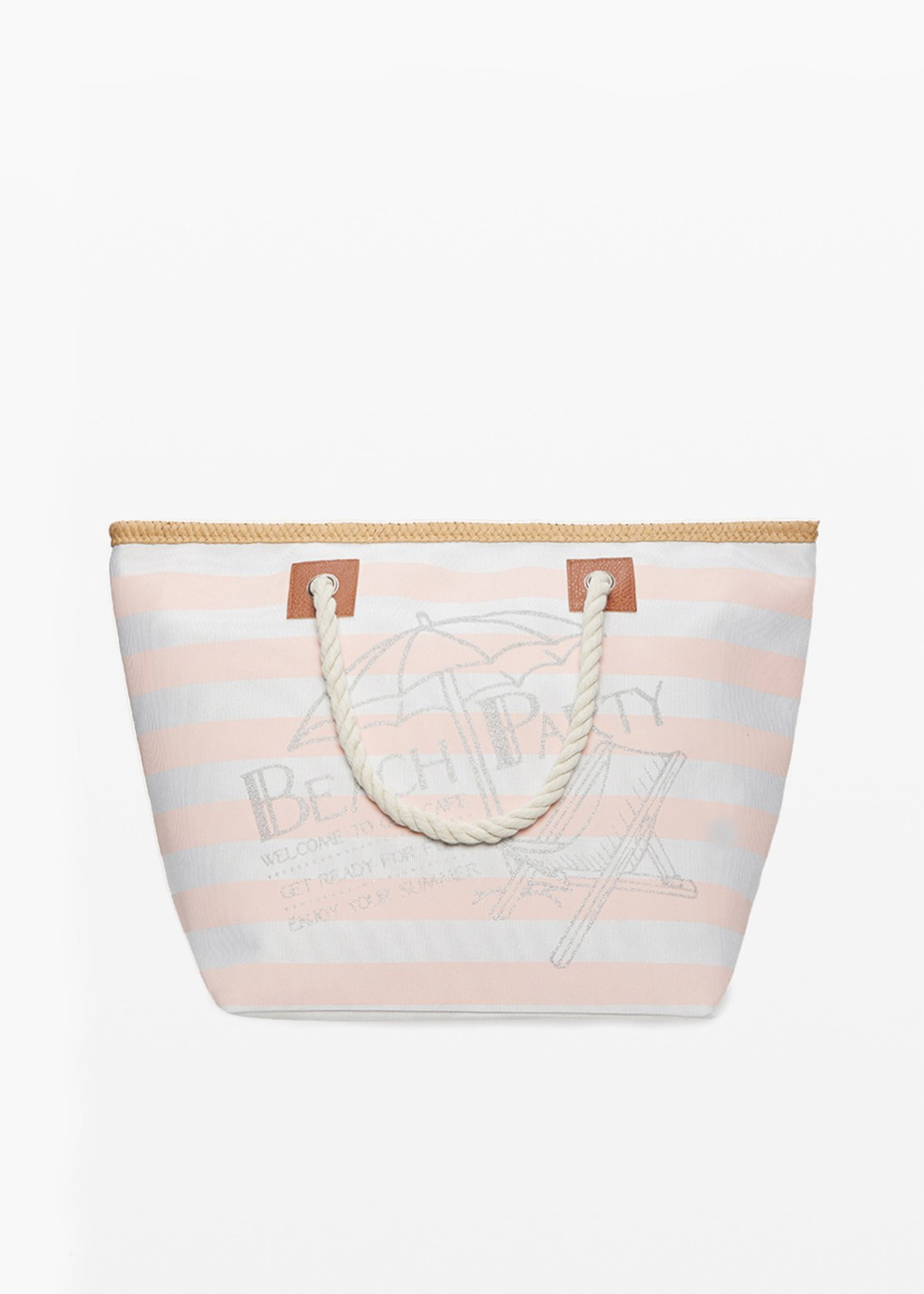 Barty stripes fantasy shopping bag with straw profiles - Oca Stripes - Woman