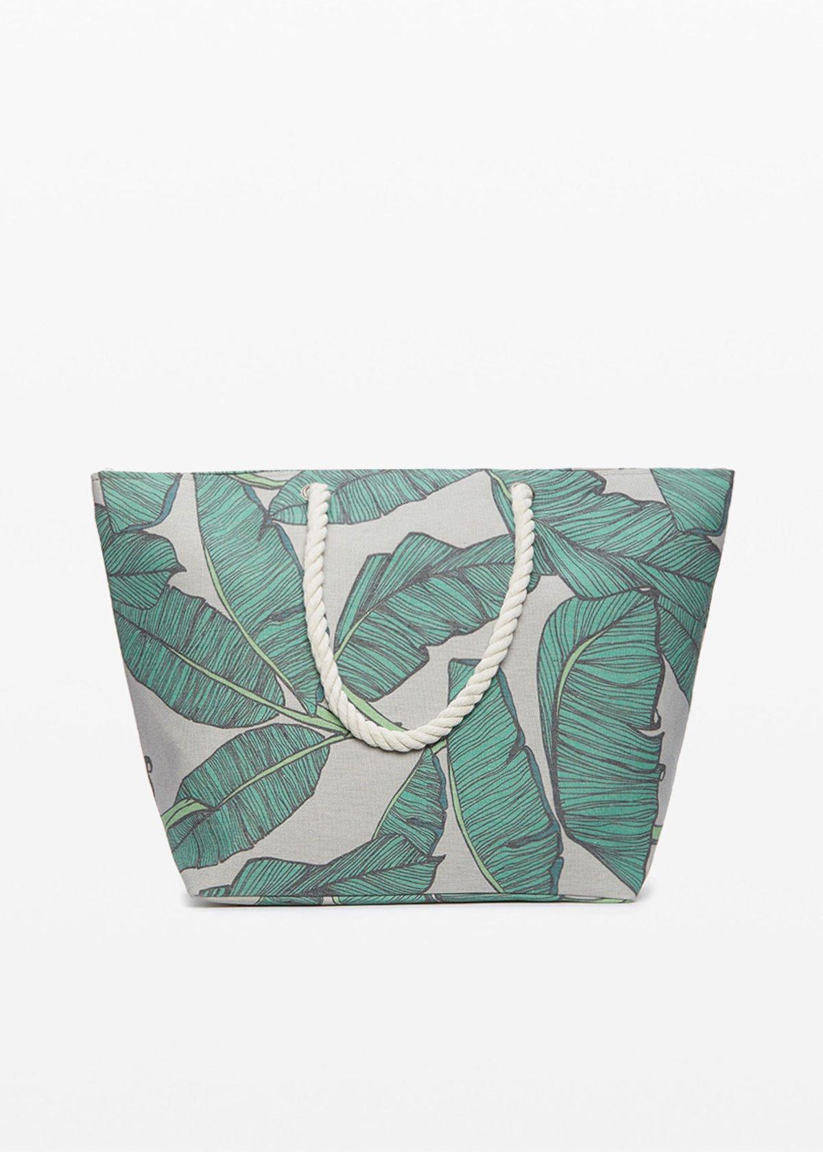 Bindy leaf print shopping bag with zip closure - Amazon Fantasia - Woman
