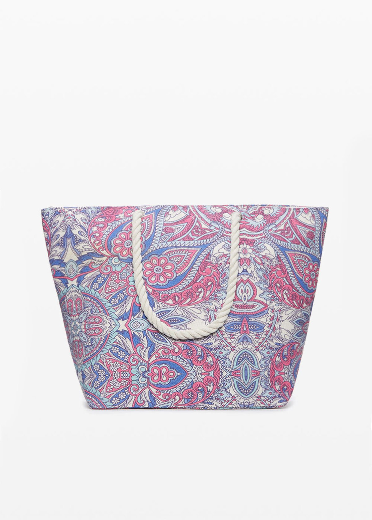 Cashmere print shopping bag with zip closure - Hibiscus Fantasia - Woman