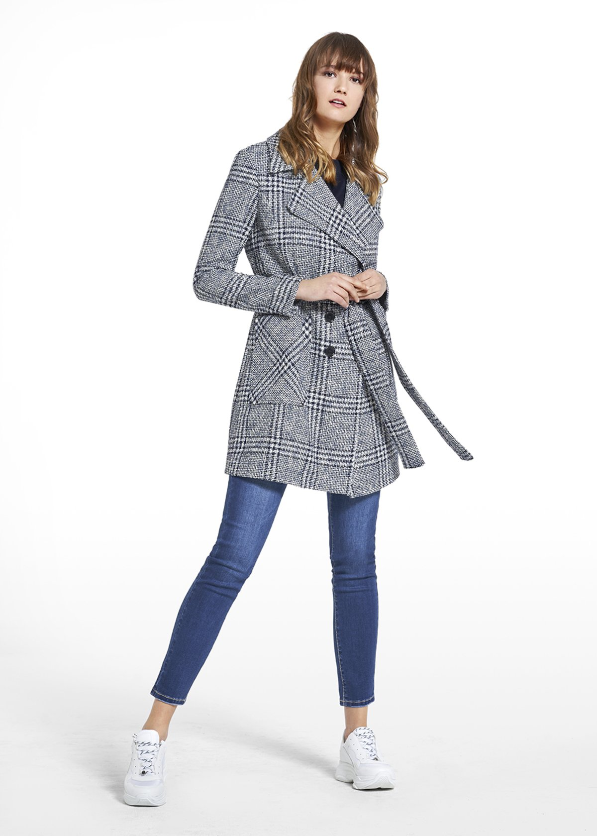 Patterned prince of Wales double-breasted coat Claud - Blue / White Fantasia - Woman