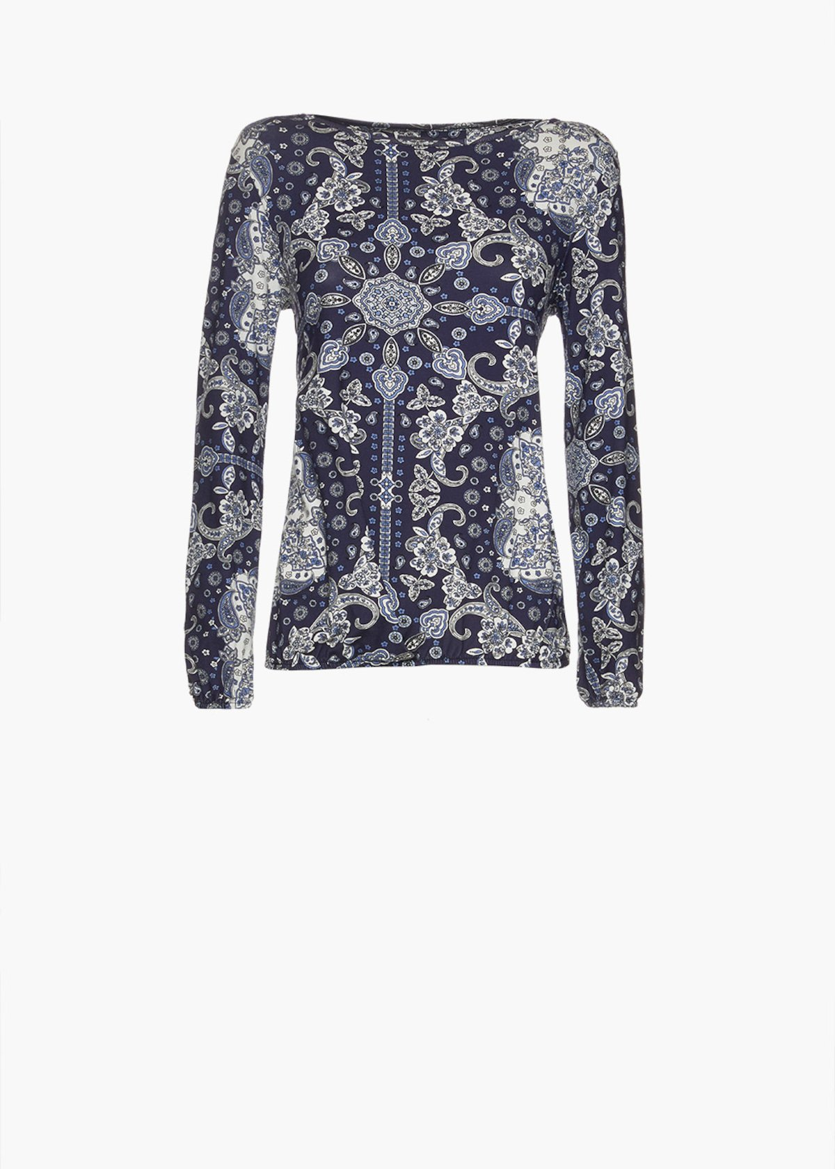 T-shirt Smoky in jersey paisley print - Blue / White Fantasia - Woman