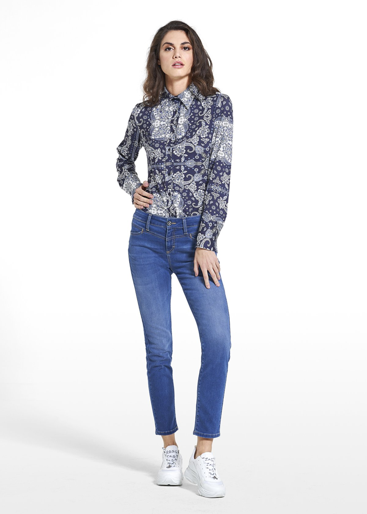 Blouse Carina in jersey patterned paisley bandana - Blue / White Fantasia - Woman - Category image