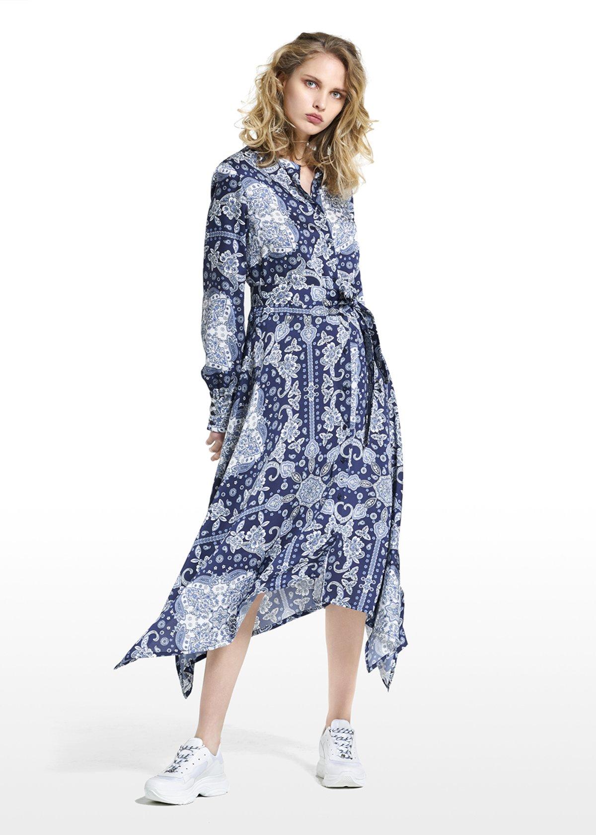 Blouse dress Artur patterned paisley bandana - Blue / White Fantasia - Woman