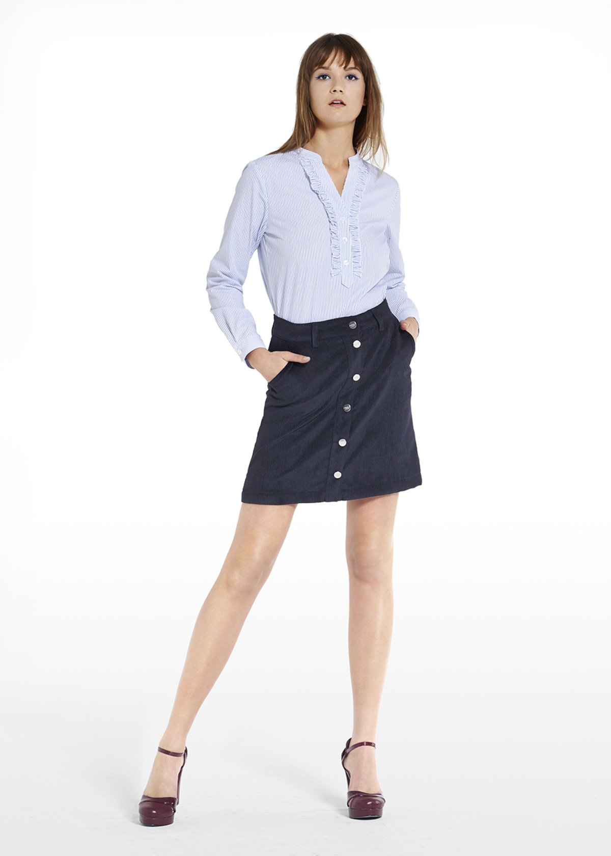 Skirt Grisell in velvet with buttons on the front - Medium Blue - Woman