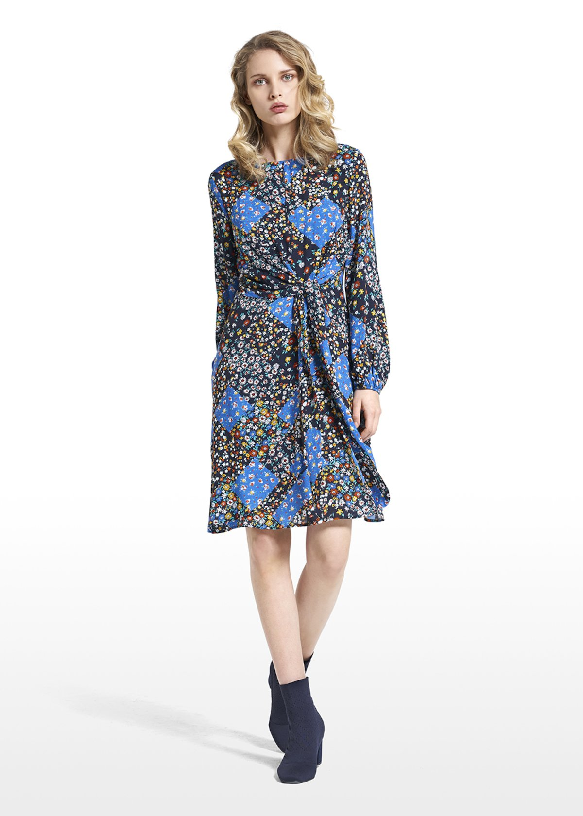 Dress Adamo patterned covent garden with dro-shaped neckline