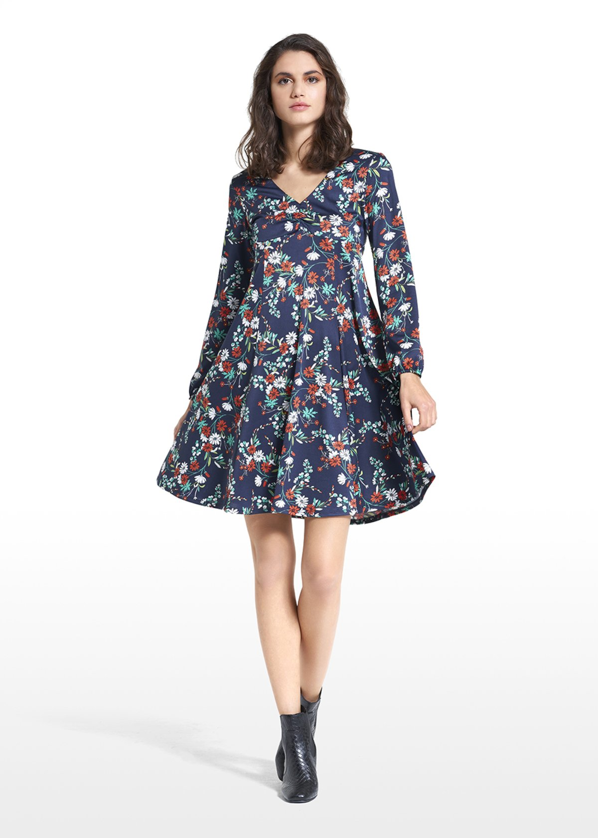 Dress Angelo with floral micro pattern - Blue / White Fantasia - Woman