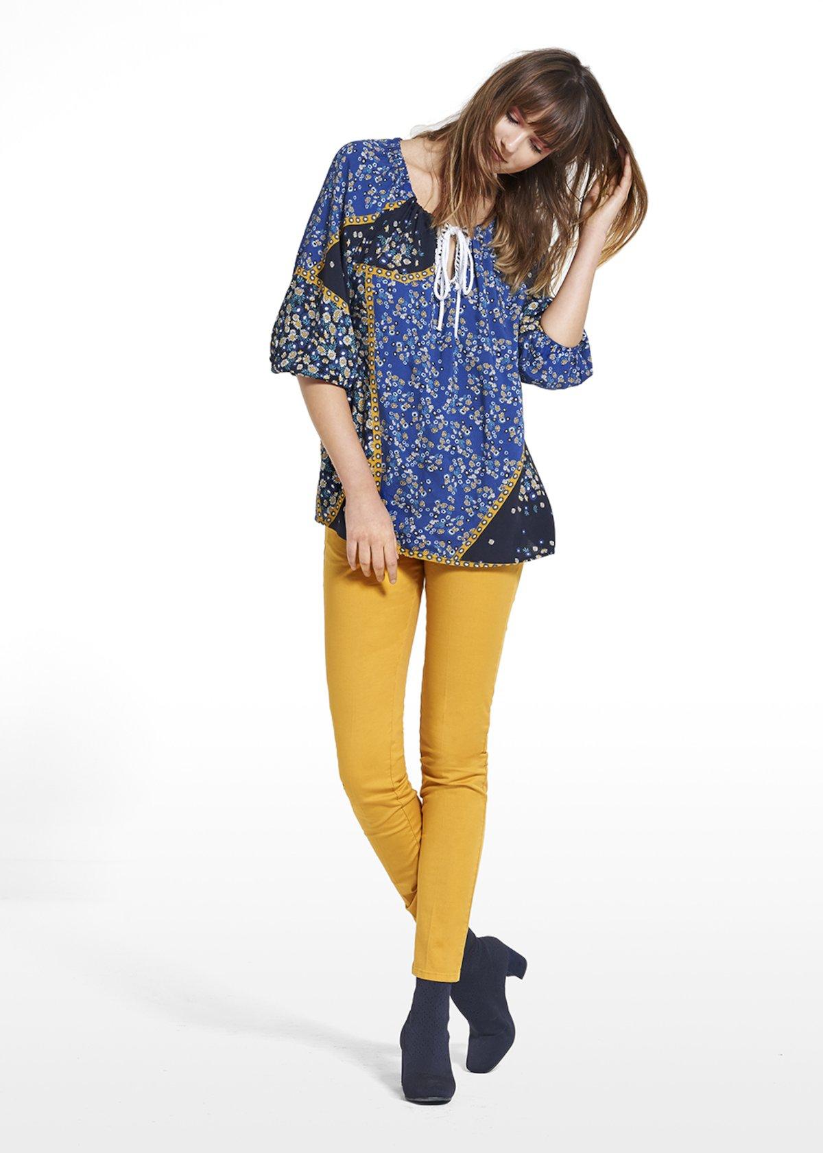 Blouse Cory patterned gipsy daisy - Avion / Miele Fantasia - Woman