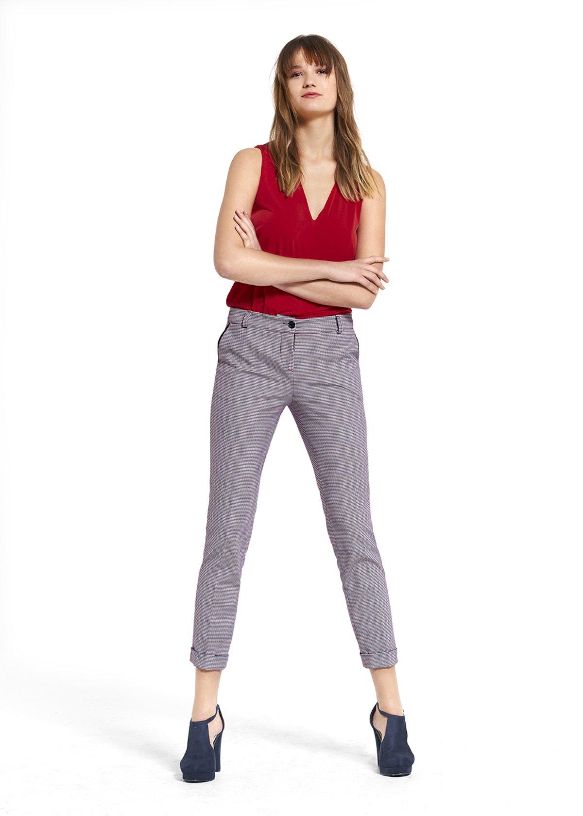 Pantaloni Pilar in tessuto check - Tulipano / Blue Fantasia - Donna