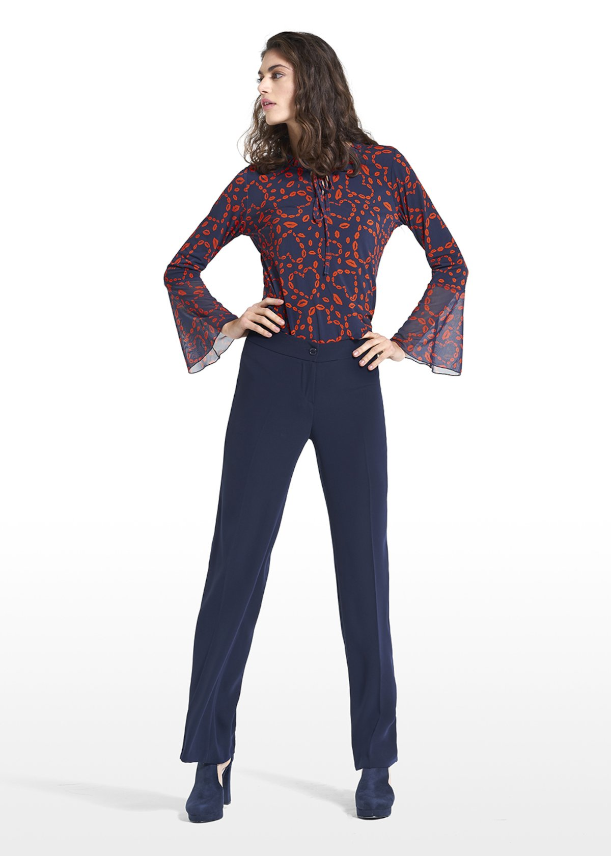 T-shirt Sharon with wide rouches on the sleeves - Blue / Tulipano Fantasia - Woman