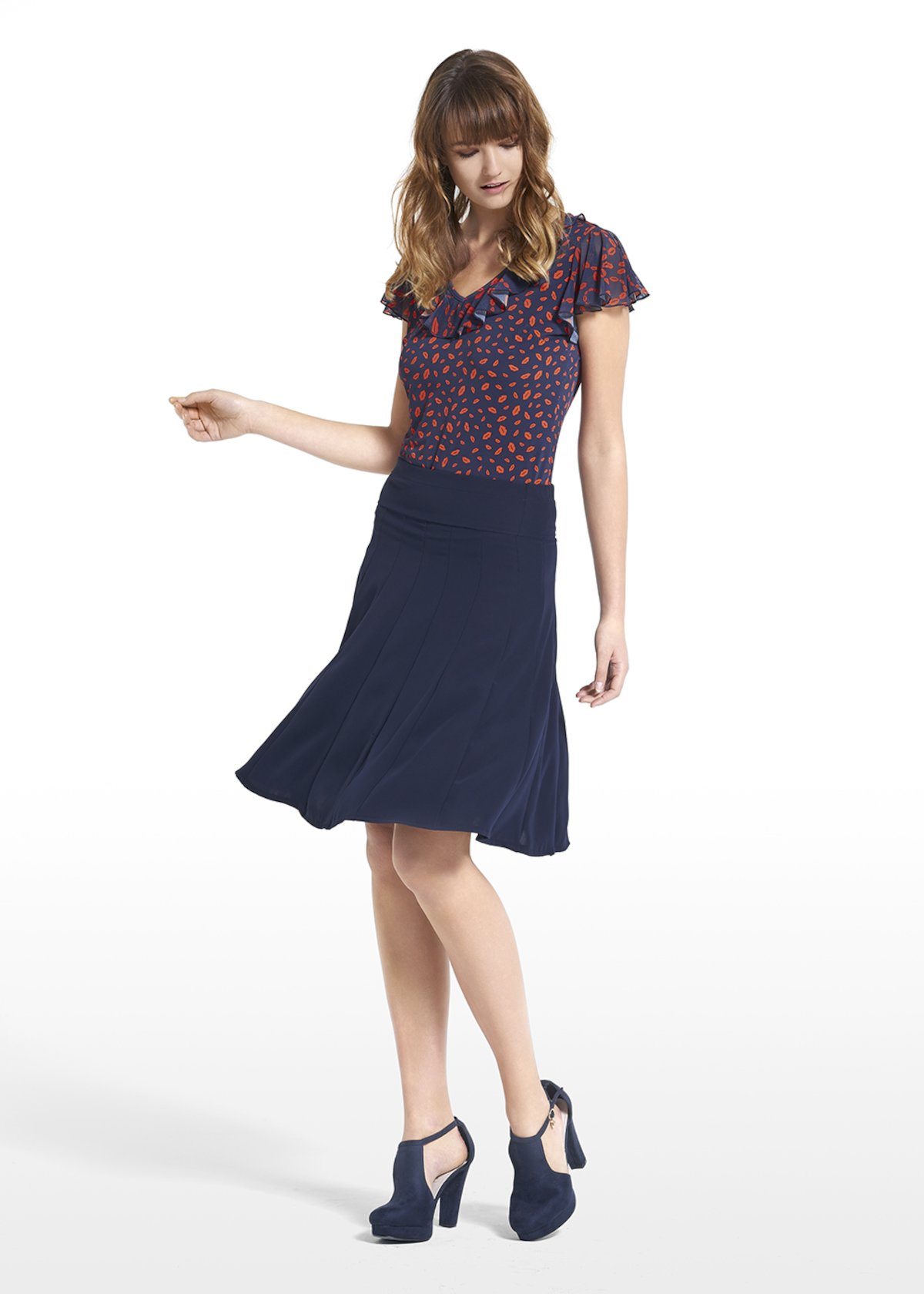 Top Tyler patterned cherry lips - Blue / Tulipano Fantasia - Woman