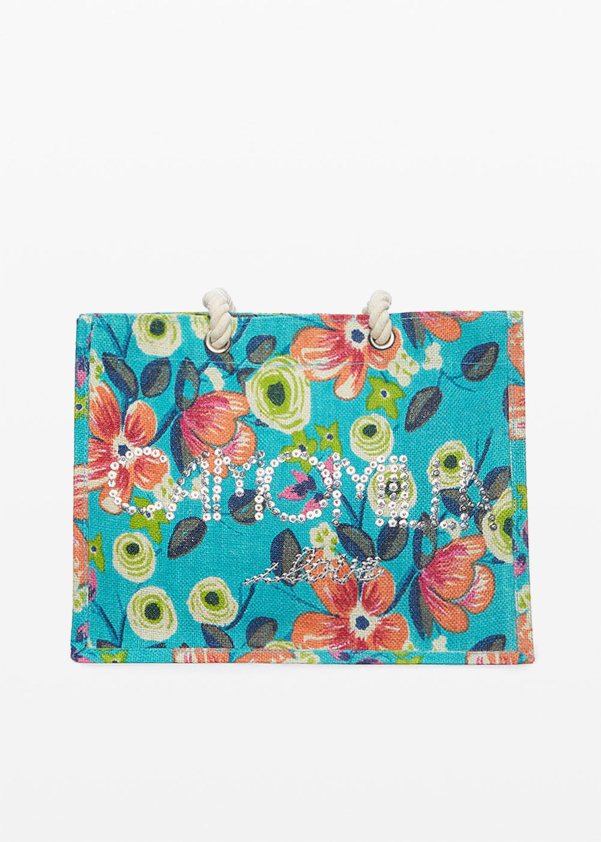 Biky flowers print jute bag with Camomilla ilove logo on the front - Sky / Avocado  Fantasia - Woman
