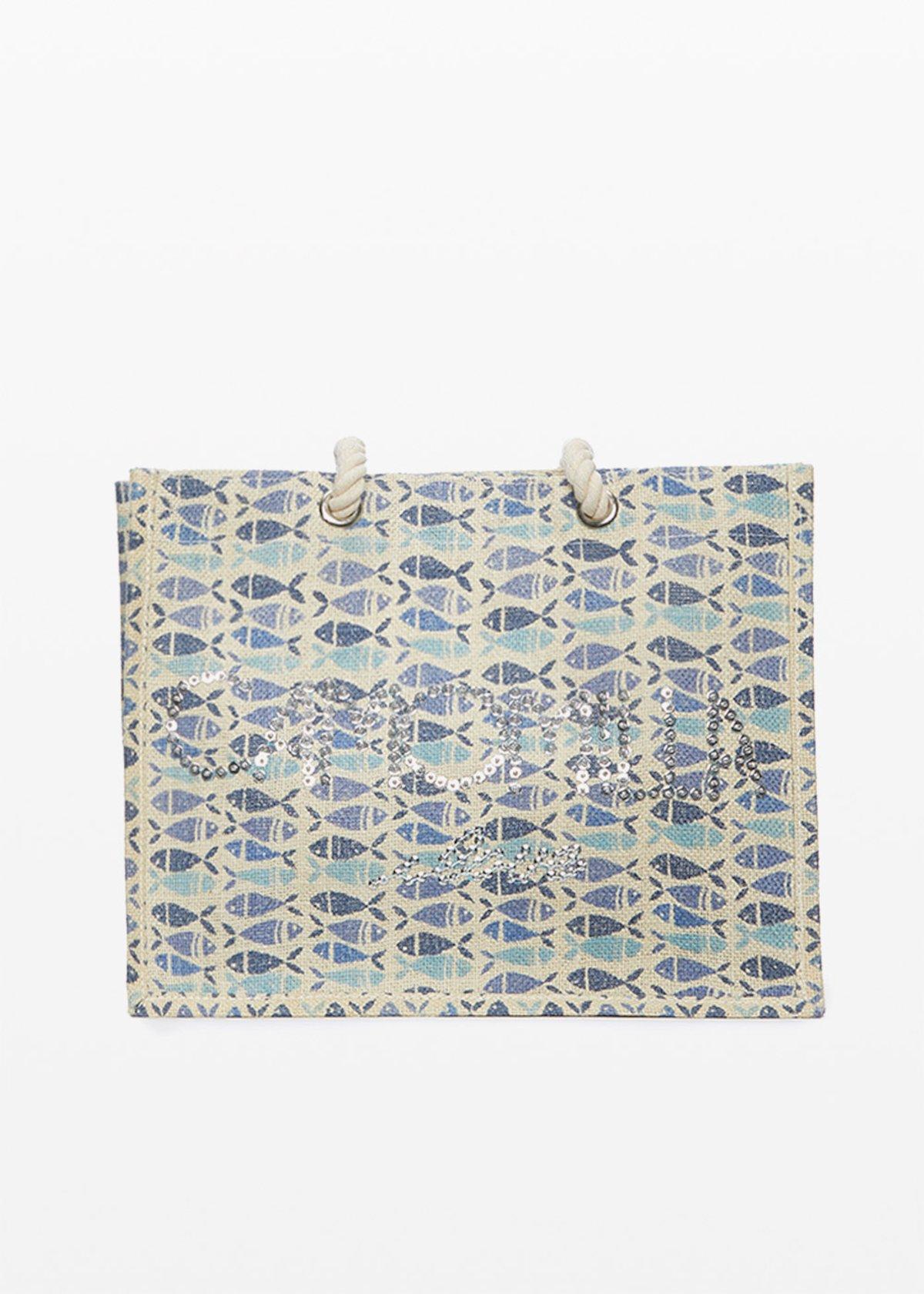 Jute bag Bitty fish print con logo Camomilla ilove in paillettes - Light Beige / Avion Fantasia - Woman