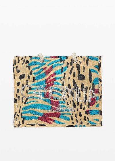 Blackie animalier print jute bag with Camomilla logo i love in sequins