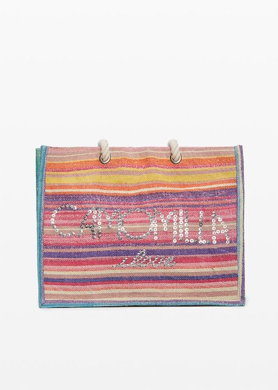 Jute bag Blondy stripes print con logo Camomilla ilove in paillettes