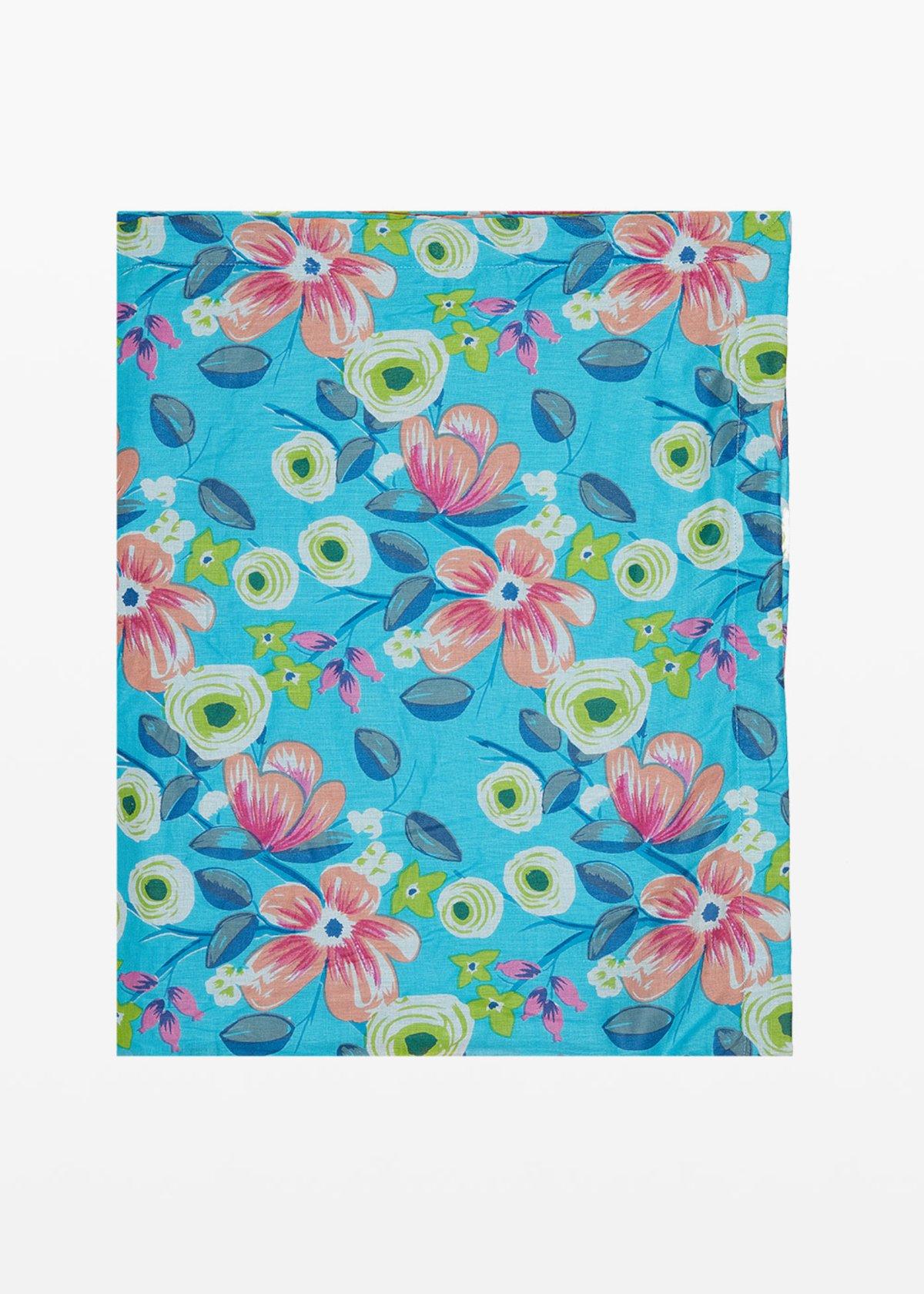 Beach towel Thierry flowers print - Sky / Avocado  Fantasia - Woman