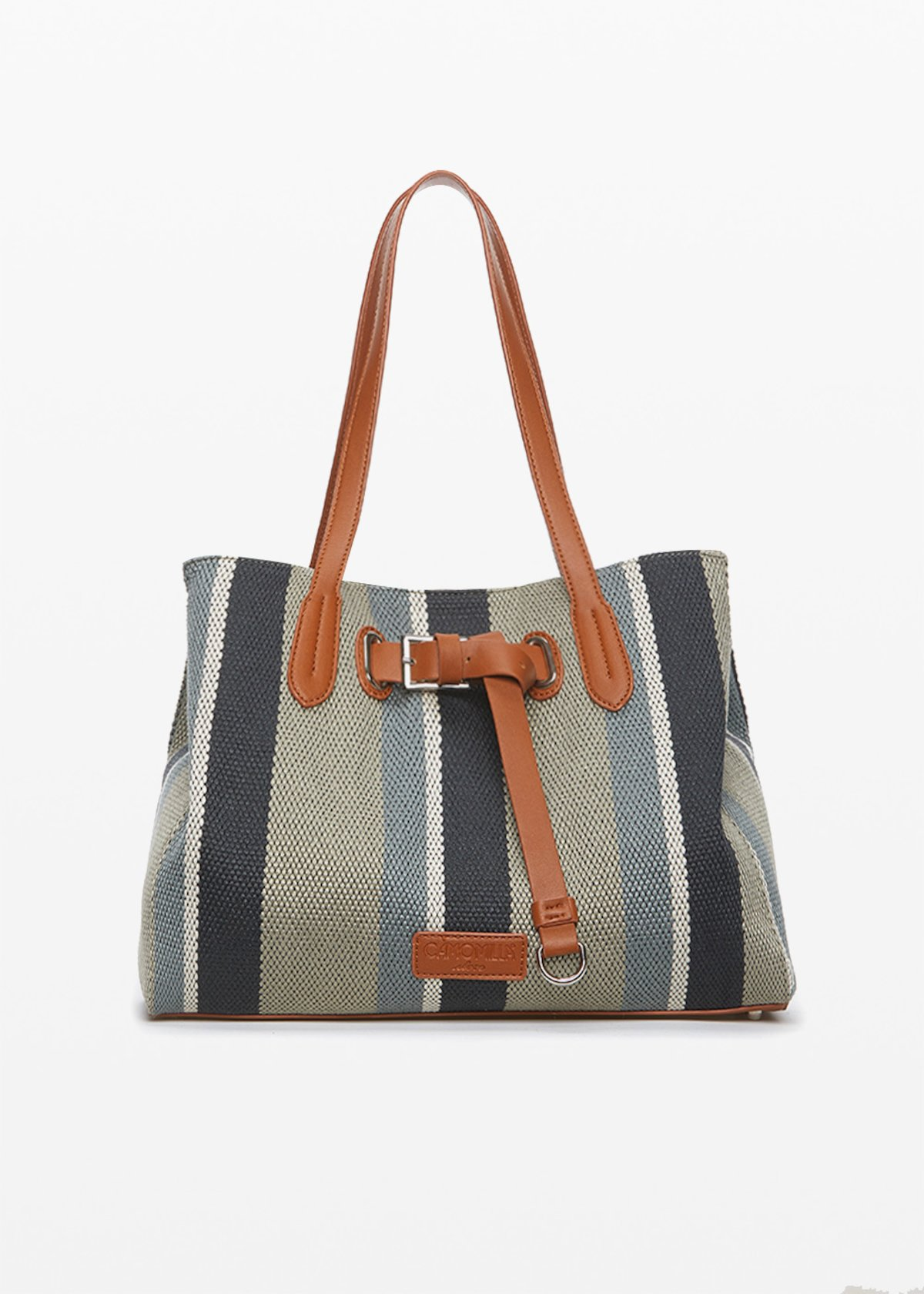 Bright shopping bag in fabric canvas and faux leather with strap decoration - Shark / Lion Stripes - Woman